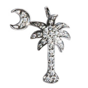 Small Sterling Silver Cubic Zirconium CZ Studded South Carolina Palmetto Moon Palm Tree Jewellery Pendant For Necklace or Chain