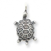 Sterling Silver Antiqued Turtle Pendant - JewelryWeb