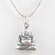 Small Sitting Laughing Buddha Pendant in Sterling Silver on a 40.6cm Rhodium and Sterling Silver Bead Chain, #8285