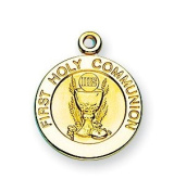 14K Gold First Communion Eucharist Chalice Gift Medal Pendant
