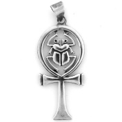 Egyptian Jewellery Silver Scarab and Ankh Pendant