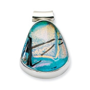 Sterling Silver Teal Dichroic Glass Teardrop Pendant