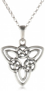 Sterling Silver Celtic Triquetra Knot Triangle Pendant Necklace, 45.7cm