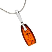 Sterling silver and baguette-shaped, cognac amber pendant with 46cm sterling silver chain