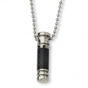 Carbon Fibre Polished Stainless Steel Capsule Pendant Necklace - 55.9cm