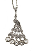 22 Calibre Peacock Bullet Necklace with. Clear Crystals