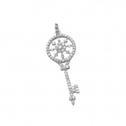 Sterling Silver Vintage Designed CZ Key Pendant + FREE 40.6cm Sterling Silver Chain