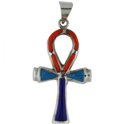 Egyptian Jewellery Silver Stone Ankh of Life Pendant