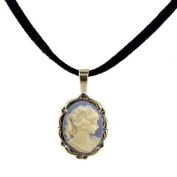 Sterling Silver Vintage Style Small Blue Resin Cameo Pendant with Suede Cord