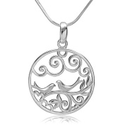 Chuvora 925 Sterling Silver Filigree Lovebirds on Tree Branch Round Circle Charm Pendant Necklace 18''