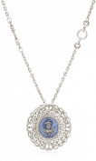 The Vatican Library Collection Round Filigree Angel Pendant Necklace