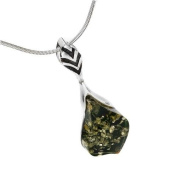 Sterling silver with gentle flower frames and leaf-shaped, green amber pendant on 46cm sterling silver chain