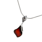 Sterling silver and leaf-shaped, cherry amber pendant on 46cm sterling silver chain
