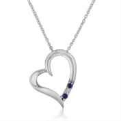 3 Stone Sapphire and Diamond Open Heart Pendant Necklace in Sterling Silver (45.7cm Chain)- Cherry Wood Box