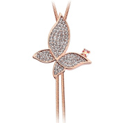 Chaomingzhen Rose Gold Plated Charm Butterfly Long Necklace Tassel with Pendant Fashion Jewerly for Women Austria Crystal