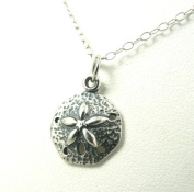 Small Sand Dollar Sterling Silver Charm Necklace Ocean Beach Theme Jewellery