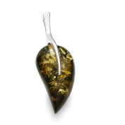 Sterling silver and leaf-shaped, green amber pendant with 46cm sterling silver chain