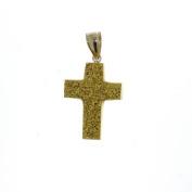 14Kt Gold Carved Gold Drusy Quartz Cross Pendant