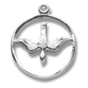 Sterling Silver Holy Spirit Circle Dove Religious Confirmation Gift Medal Pendant