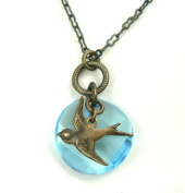 Sparrow in Flight Natural Brass Bird Charm Crystal Necklace Nature Theme Jewellery