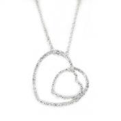 Pure & Exquisite Double Heart Pendant w/pavé White CZs, .925 Sterling Silver