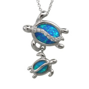 Mom and Baby Turtle Silver Blue Opal Necklace Pendant with Chain