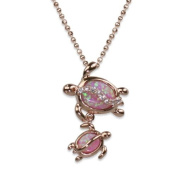 Mom and Baby Turtle Pink Opal Necklace Pendant w/ Rose Gold Finish and Chain