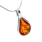 Sterling silver and teardrop-shaped, cognac amber pendant on 46cm sterling silver chain
