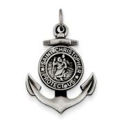 Sterling Silver Antiqued Satin St Christopher Anchor Medal Pendant