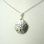 Large Sand Dollar Sterling Silver Charm Necklace Ocean Beach Theme Jewellery