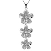 Three Plumeria Silver Necklace with Chain