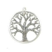 Round Open Design Textured Tree of Life Pendant in Sterling Silver for Men or Women, #7792