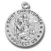 Sterling Silver Small Round St. Christopher - 45.7cm Chain -Gift Boxed