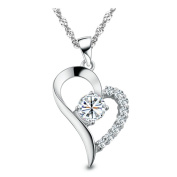 Chaomingzhen Charm Rhodium Plated Half with Cubic Zirconia Diamond Sterling Silver Open Heart Pendant Necklace for Women or for Girlfriend with Chain45.7cm