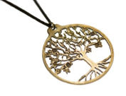 Tree of Life Peace Bronze Pendant Necklace on Adjustable Natural Fibre Cord