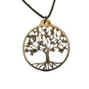 Small Peace Bronze Tree of Life Pendant Necklace on Adjustable Fibre Cord