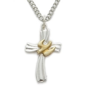 1.9cm Sterling Silver 2-Tone Holy Spirit Ribbon Cross Necklace with Dove on 45.7cm Chain