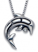 Stainless Steel Dolphin Pendant with White Crystal on an 45.7cm Box Chain