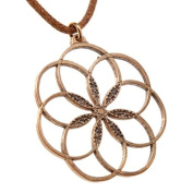 7 Rings of Peace peace bronze Pendant Necklace on adjustable natural fibre cord[Jewellery]