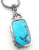 Turquoise Blue Lapis Reversible Sterling Silver Pendant