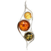 Sterling Silver Multicolor Amber Contemporary Pendant