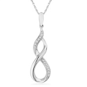 Platinum Plated Sterling Silver Round Diamond Twisted Fashion Pendant