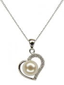Heart Shape Valentine's Pendant, Sterling Silver with White Freshwater Pearl