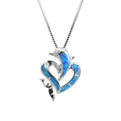 CZ Accented Sterling Silver Dolphin and Heart Necklace Pendant with Blue Opal and Box Chain