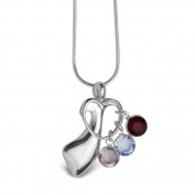 Loving Family Sterling Silver Mother's Loving Embrace Birthstone Charm Pendant
