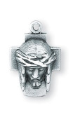 Sterling Silver Petite Small Ecce Homo Cross Jesus Christ Medal Pendant