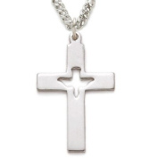 3.2cm Sterling Silver Holy Spirit Cross Necklace with Pierced Descending Dove on 45.7cm Chain