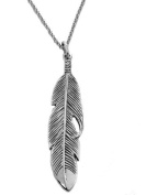 .925 Sterling Silver Feather Charm Necklace 45.7cm