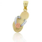 Gold Flip-flop Sandal with Flower Charm, 10k