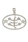 Sterling Silver and White Cubic Zirconia Baha'i Ring Symbol Pendant